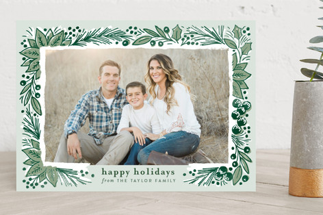 Pine Branch Sketch Christmas Photo Cards
