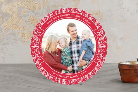 Circular Wreath Christmas Photo Cards