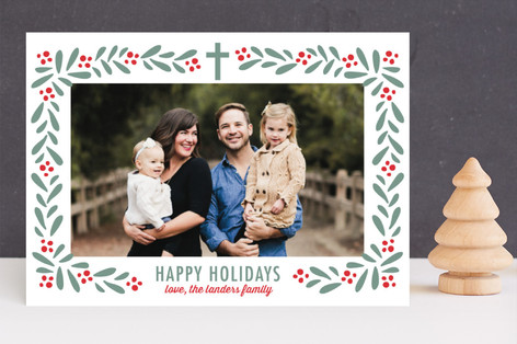 Florals and Berries Christmas Photo Cards