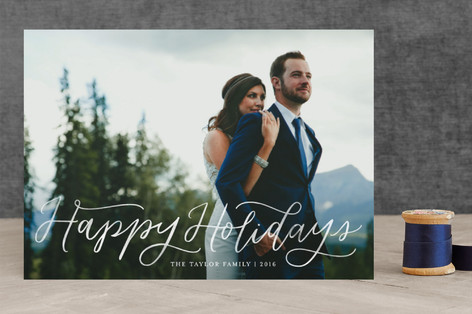 Blessed Tidings Script Christmas Photo Cards