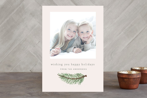 Red Pine Branch Christmas Photo Cards