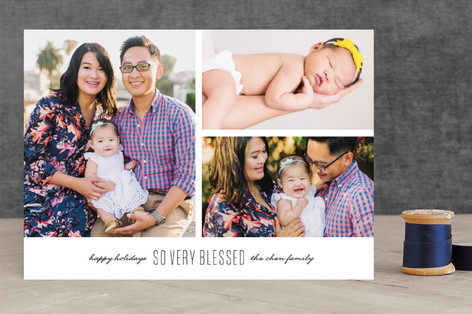 Modern Blessings Christmas Photo Cards