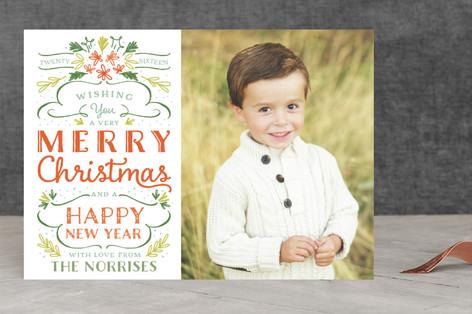 Festive Foliage & Type Christmas Photo Cards