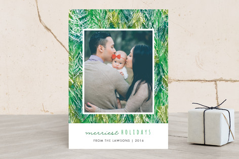 Pine forest Christmas Photo Cards