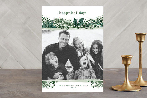 Painterly Pines Christmas Photo Cards