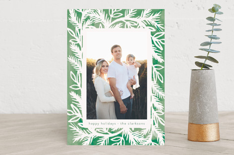 Watercolor Pine Frame Christmas Photo Cards