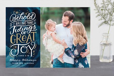 Tidings of Great Joy Script Christmas Photo Cards