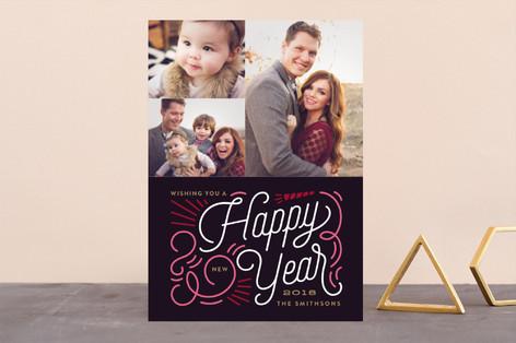 Swirl New Year New Year's Photo Cards