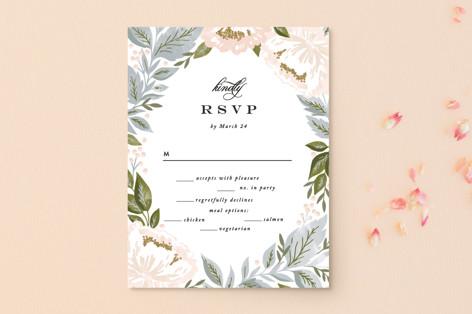 Peony Floral Frame RSVP Postcards