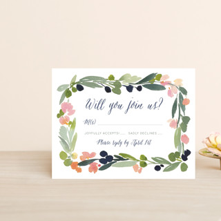 Watercolor Wreath RSVP Postcards
