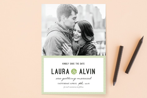 Dot and Cross Save the Date Cards