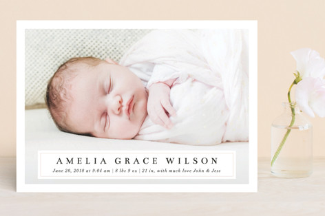 Simple Elegance Birth Announcements