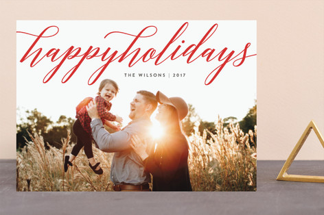 Delicate Script Holiday Photo Cards