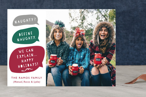 Naughty or Nice Greetings Holiday Photo Cards