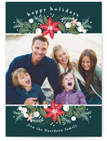 Poinsettia Crescent Holiday Photo Cards