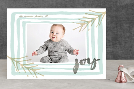 Joyous Watercolor Frame Holiday Photo Cards