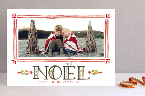 Watercolor Noel Holiday Photo Cards
