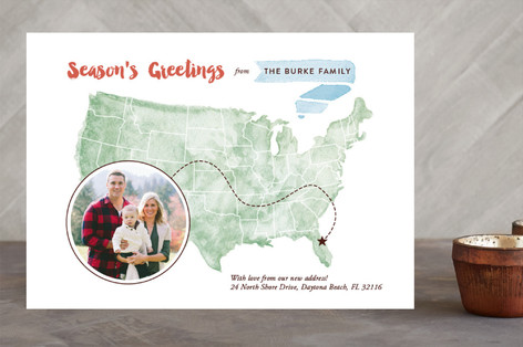 Watercolor Map Holiday Photo Cards