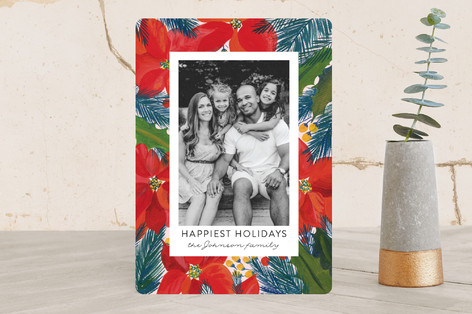Holiday Floral Holiday Photo Cards