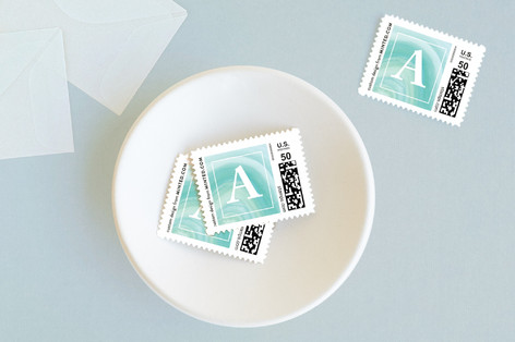 Marbled Initial Baby and Kids Stamps