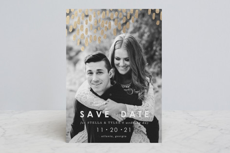 Modern Dash Foil-Pressed Save The Date Cards