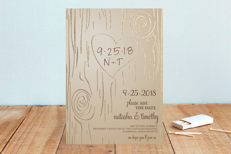 Fall Carving Foil-Pressed Save The Date Cards