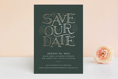 Between the Vines Foil-Pressed Save The Date Cards