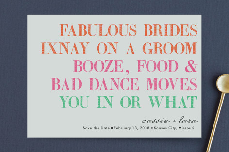 You In Or What (Two Brides) Save the Date Petite Cards