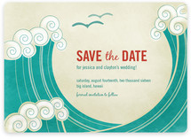 BLOCK PRINT WAVES Save The Date Magnets