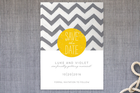 save the date, gray and yellow, chevron print, minted.com