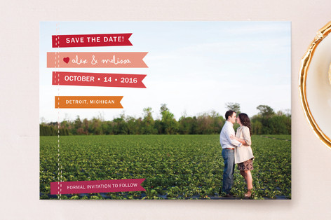 Stitched Flags Save the Date Postcards