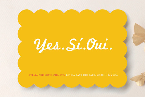 Yes Si Oui Save the Date Cards
