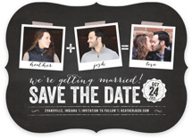 Polaroid on Chalkboard Save the Date Cards