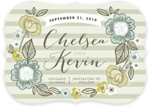 Striped Florals Save the Date Cards