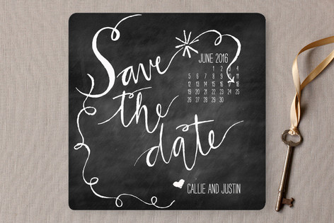 Chalk and Black Paper Save the Date Cards