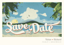 Vintage Tropical Save the Date Cards By Rebecca Bowen