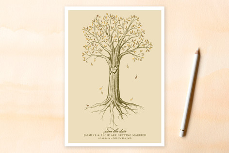 Carved Tree Save the Date Cards