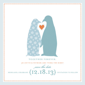 Penguins Save the Date Card by Pottsdesign