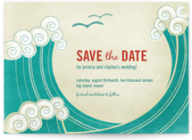 BLOCK PRINT WAVES Save the Date Cards