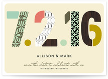Pattern Numbers Save the Date Cards