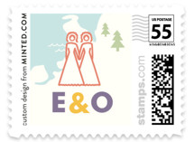 Two Brides Destination Wedding Stamps