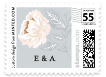 Peony Floral Frame Wedding Stamps