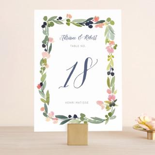 Watercolor Wreath Wedding Table Numbers