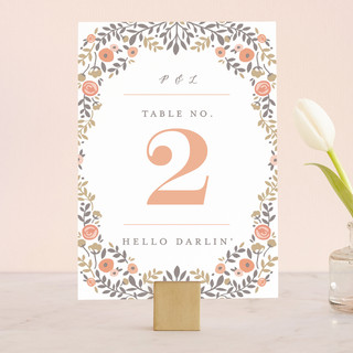 Lover's Floral Frame Wedding Table Numbers