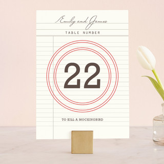 Library Wedding Table Numbers