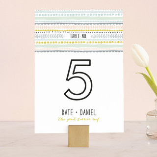 Whimsy Stripe Wedding Table Numbers