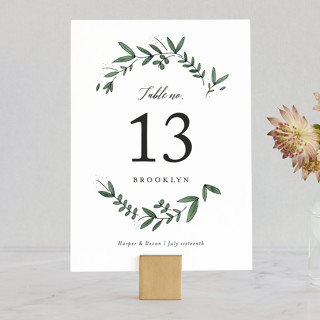 Floral Wreath Wedding Table Numbers