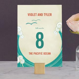 BLOCK PRINT WAVES Wedding Table Numbers