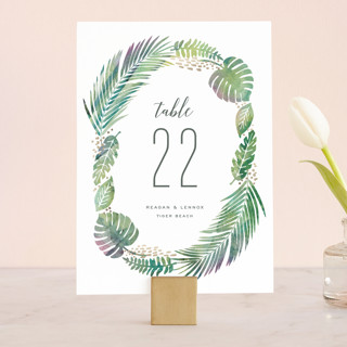 Tropical Foliage Wedding Table Numbers