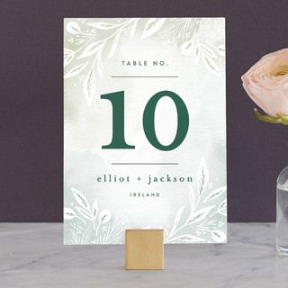 Dip dyed foliage Wedding Table Numbers